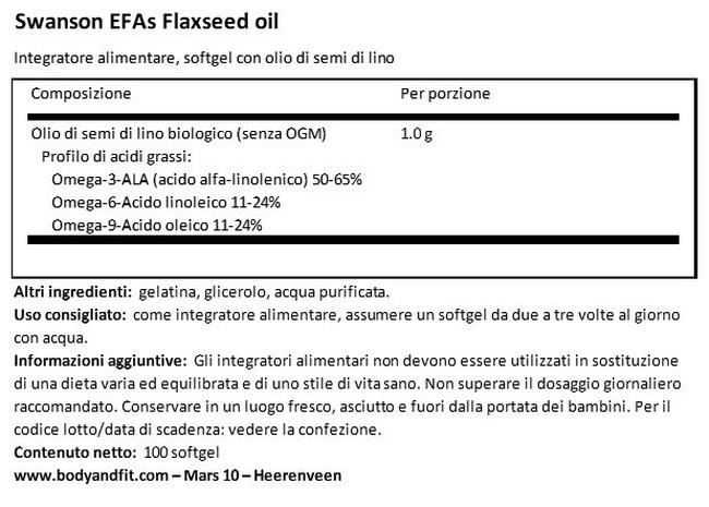 EFA Flaxseed Oil 1000 mg Nutritional Information 1