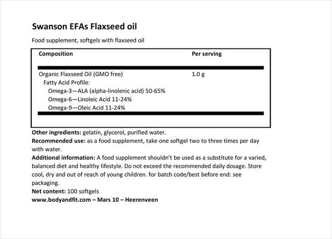 EFA 아마씨 오일 1000mg Nutritional Information 1