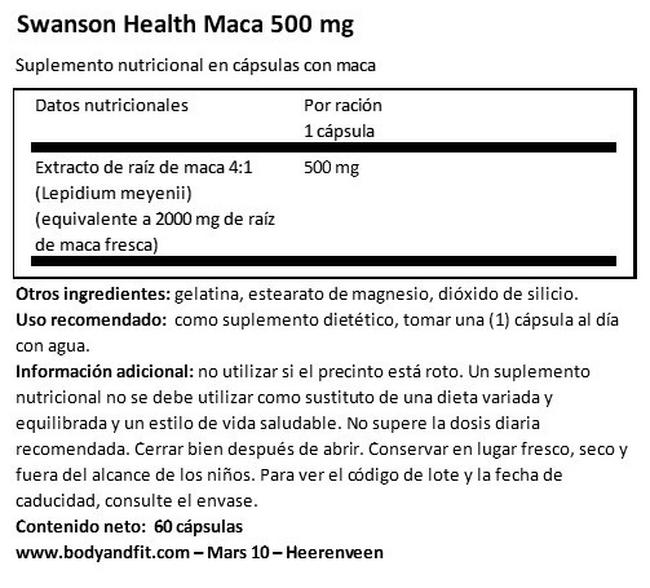 Super herbs Maca 500 mg Nutritional Information 1