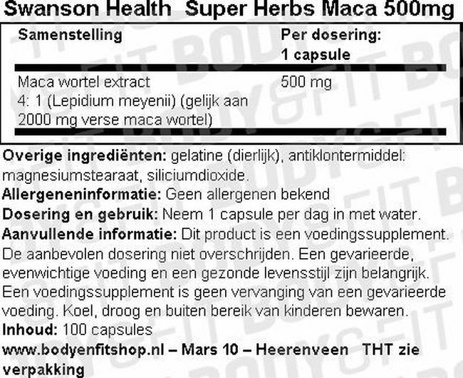Super herbs Maca 500mg Nutritional Information 1