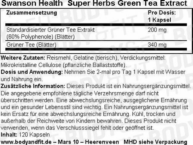 Super Herbs Green Tea Extract 500 mg Nutritional Information 1