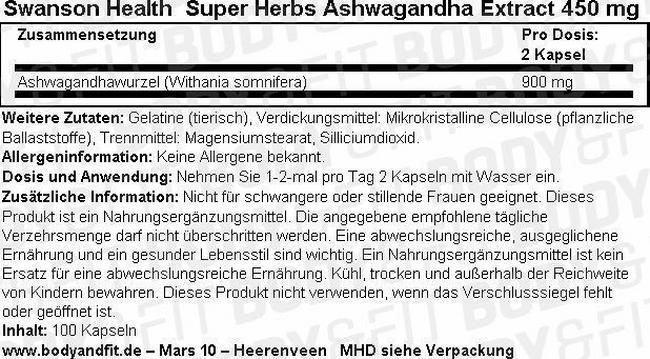 Super Herbs Ashwagandha Extract 450 mg Nutritional Information 1