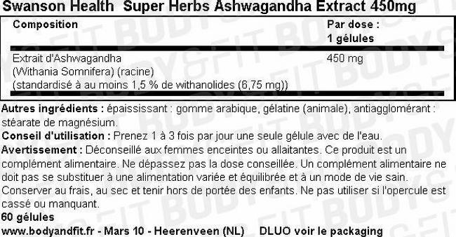 Super Herbs Extrait d'Ashwagandha 450mg Nutritional Information 1