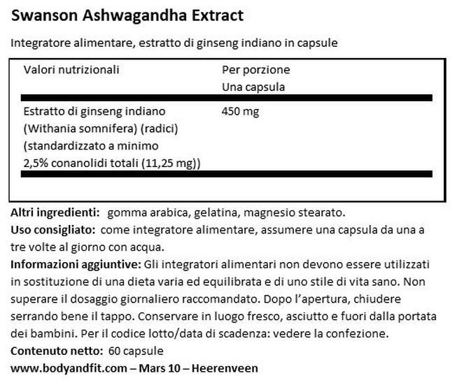 Super Herbs Ashwagandha Extract 450mg Nutritional Information 1