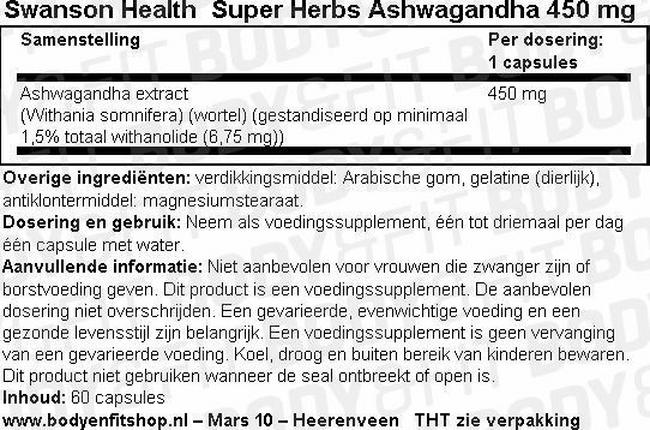 Super Herbs Ashwagandha Extract 450mg Nutritional Information 1