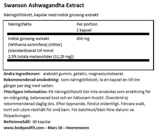 Super Herbs Ashwagandha Extract 450 mg Nutritional Information 1