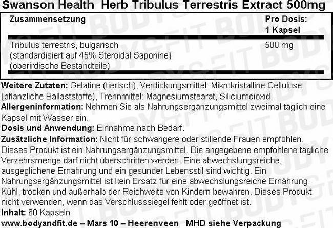 Herb Tribulus Terrestris Extract 500 mg Nutritional Information 1