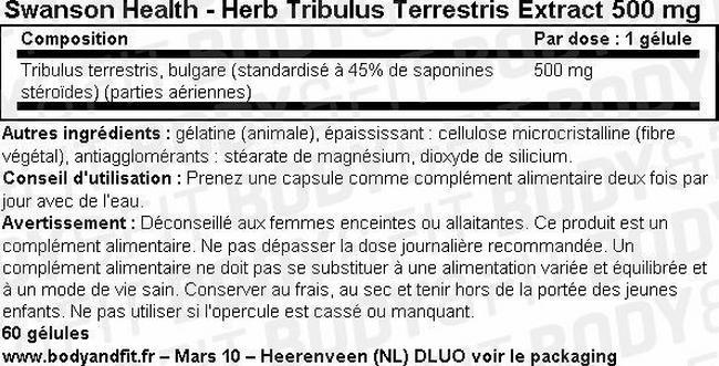 Super Herbs Extrait de Tribulus Terrestris 500mg Nutritional Information 1