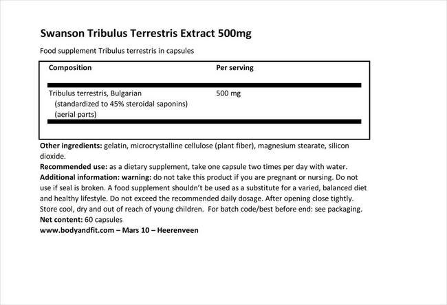 Tribulus Terrestris Extract 500mg Nutritional Information 1
