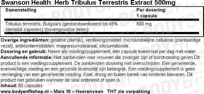 Herb Tribulus Terrestris Extract 500mg Nutritional Information 1