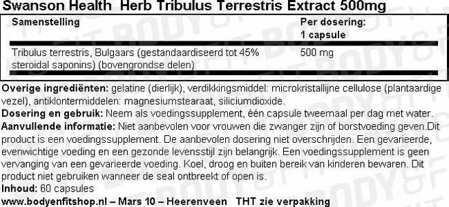 Herb Tribulus Terrestris Extract 500mg Nutritional Information 1