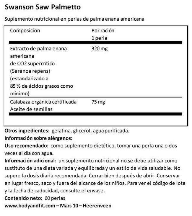 Herb Saw Palmetto 320 mg Nutritional Information 1