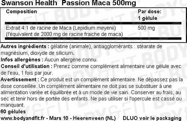 Racine de maca Passion Maca 500 mg Nutritional Information 1