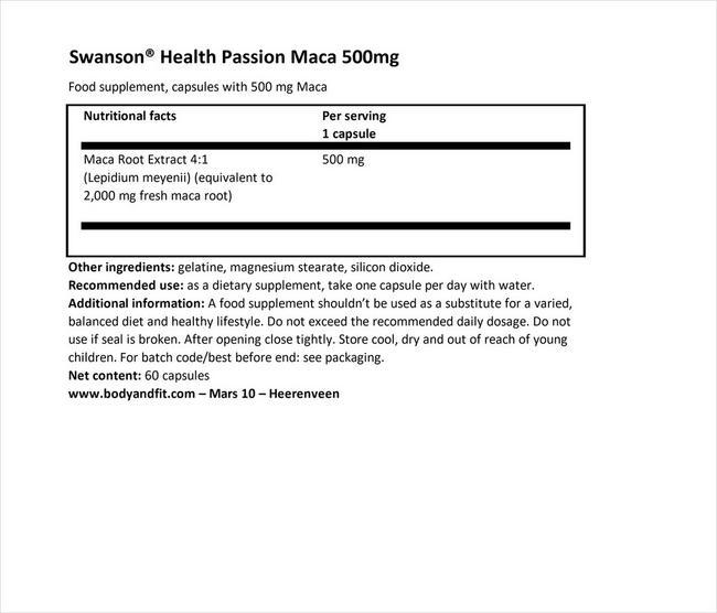 パッション マカ 500mg Nutritional Information 1