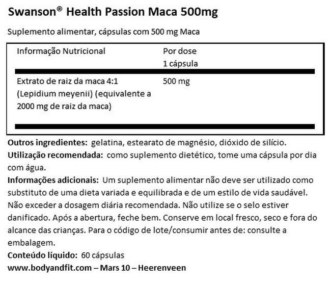 Passion Maca 500 mg Nutritional Information 1