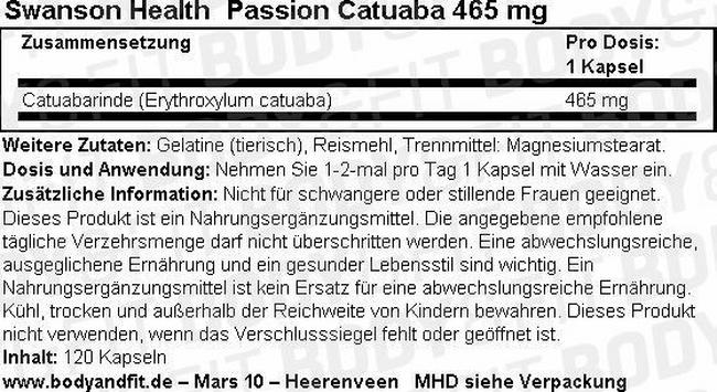 Passion Catuaba 465mg Nutritional Information 1