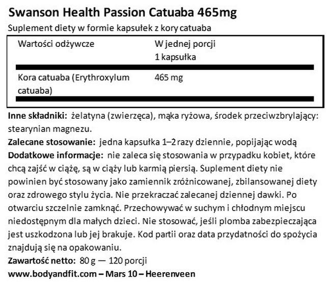 Passion Catuaba 465 mg Nutritional Information 1