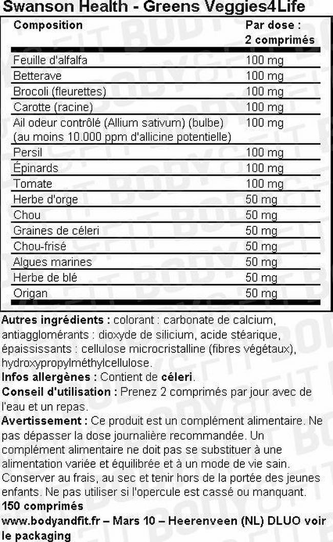 Greens Veggie4Life Nutritional Information 1