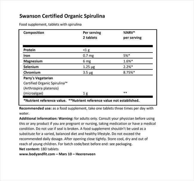 100%サーティファイド オーガニックスピルリナ 500mg Nutritional Information 1