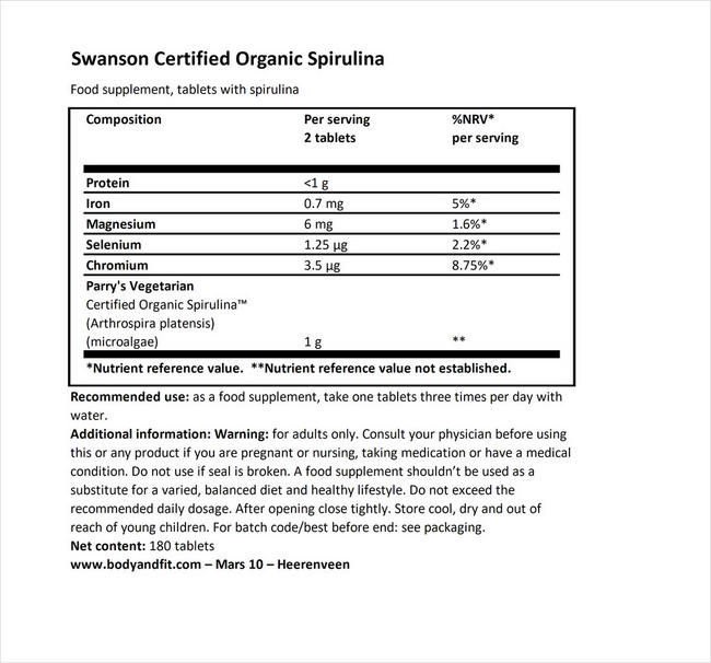 100% Certified Organic Spirulina 500mg Nutritional Information 1