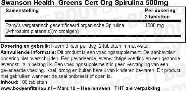 Greens Cert Org Spirulina 500mg Nutritional Information 1