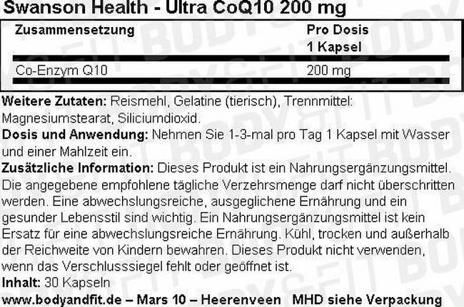 Ultra CoQ10 200 mg Nutritional Information 1