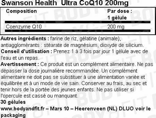 Ultra CoQ10 200mg Nutritional Information 1