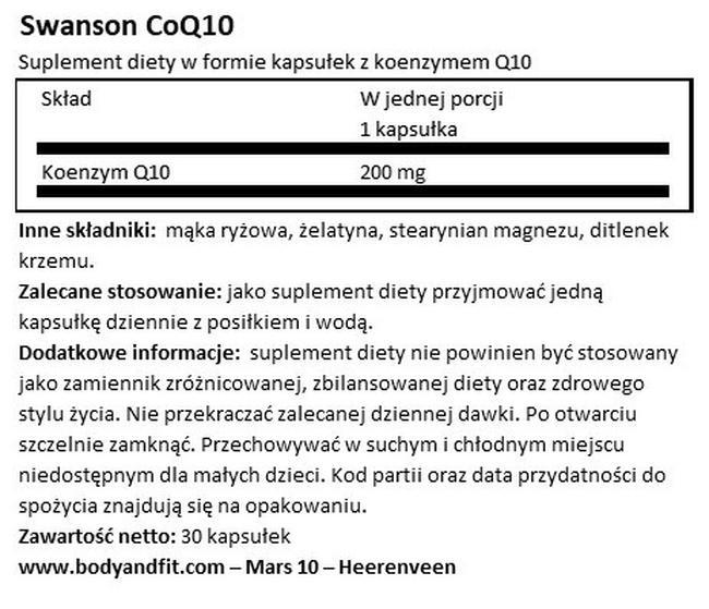 Ultra CoQ10 200 mg Nutritional Information 1