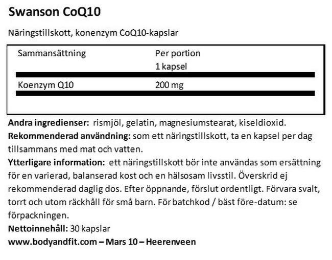Ultra CoQ10 200mg Nutritional Information 1