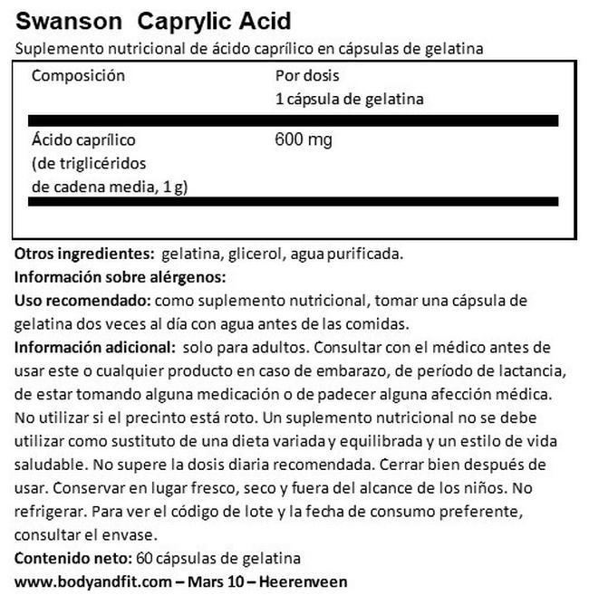 Ultra Caprylic Acid 600 mg Nutritional Information 1