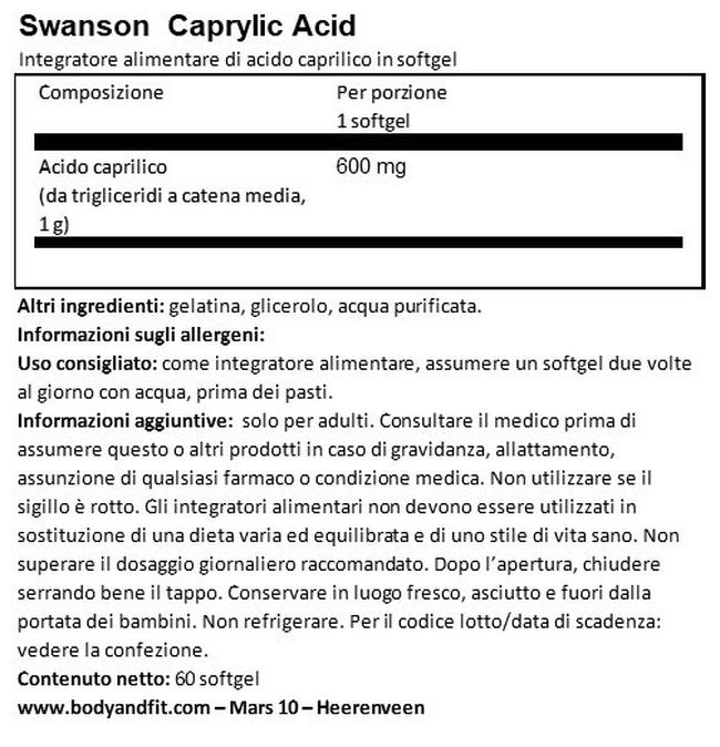 Ultra Caprylic Acid 600 mg Nutritional Information 1