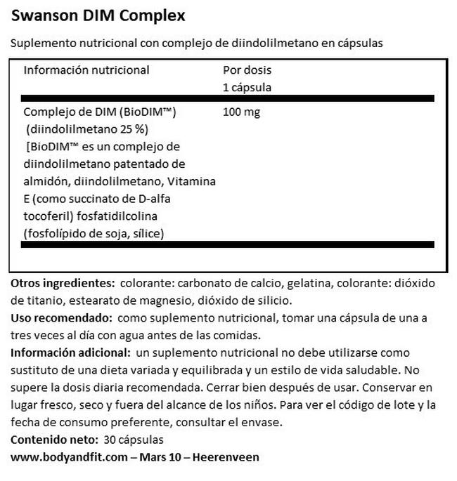 Ultra Dim Complex 100 mg Nutritional Information 1