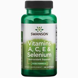 Swanson Ultra Vitaminas A, C, E e selénio - 60 cápsulas gelatinosas moles