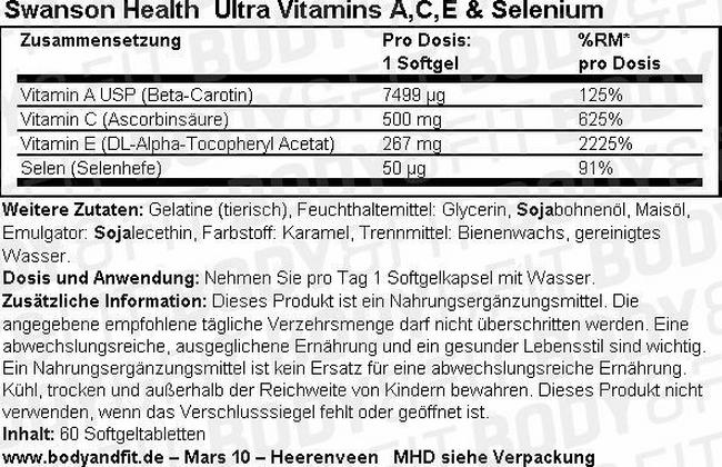 Ultra Vitamins A, C, E & Selenium Nutritional Information 1