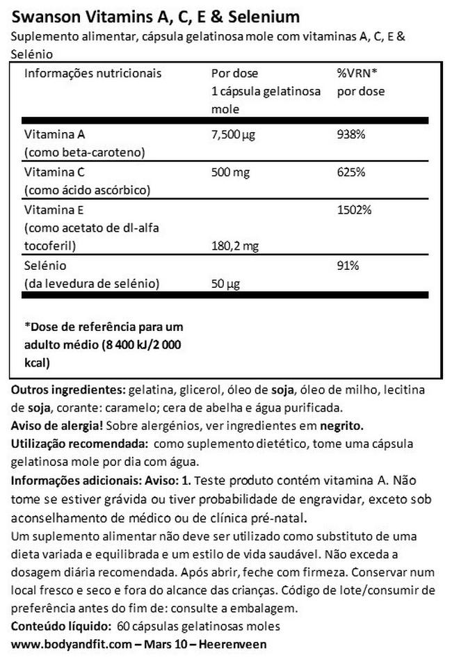Ultra Vitamins A, C, E and Selenium Nutritional Information 1