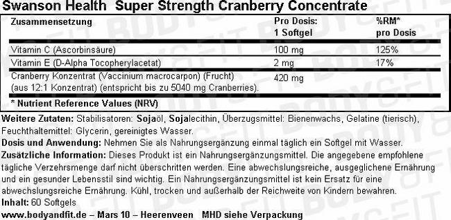 Ultra Super Strength Cranberry Concentrate Nutritional Information 1