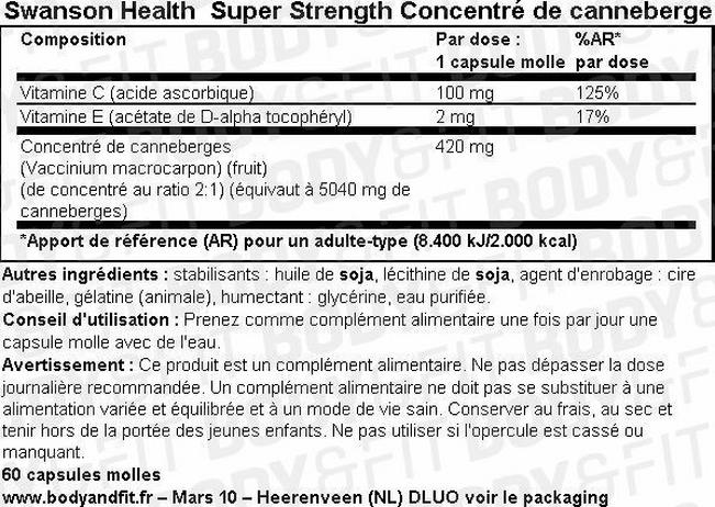 Ultra Super Strength Concentré de canneberges Nutritional Information 1