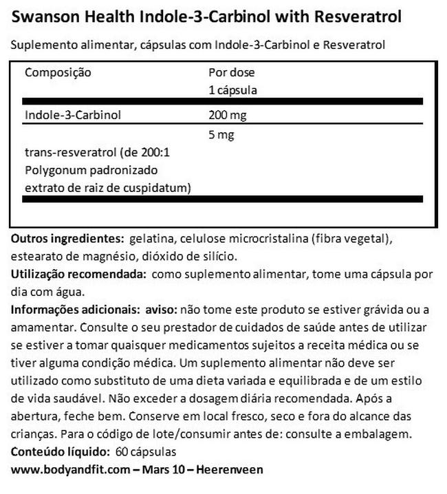 Ultra-indole-3-carbinol com resveratrol Nutritional Information 1