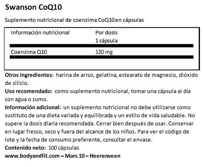 Ultra CoQ10 120 mg Nutritional Information 1