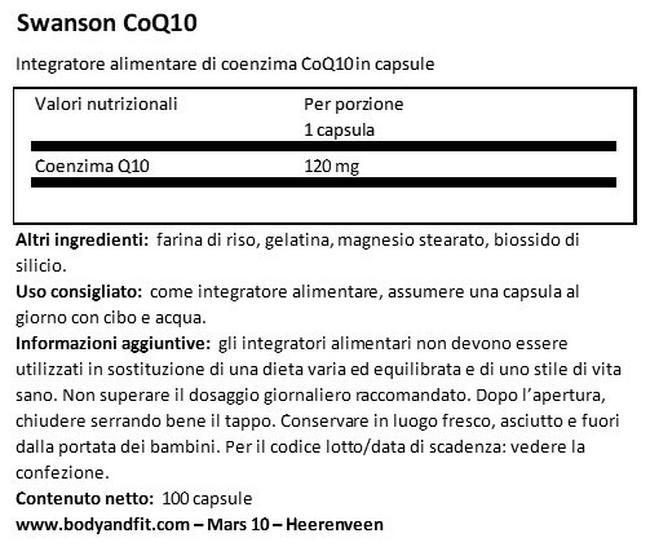 Ultra CoQ10 120mg Nutritional Information 1