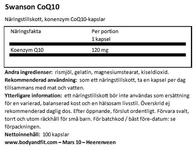 Ultra CoQ10 120 mg Nutritional Information 1