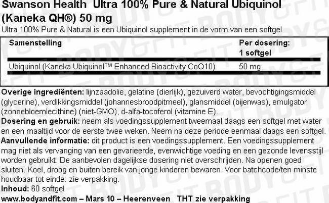 Ultra 100% Pure & Natural Ubiquinol (Kaneka QH®) 50mg Nutritional Information 1