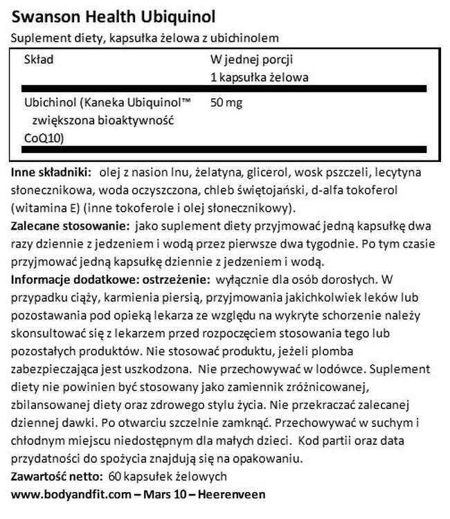 Ultra 100% Pure & Natural Ubiquinol (Kaneka QH®) 50 mg Nutritional Information 1