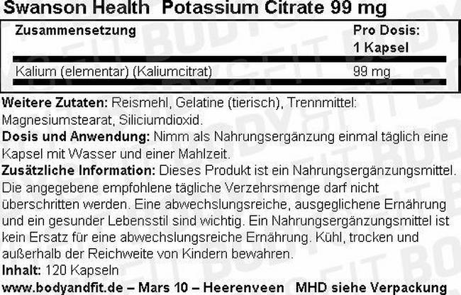 Ultra Potassium Citrate 99 mg Nutritional Information 1