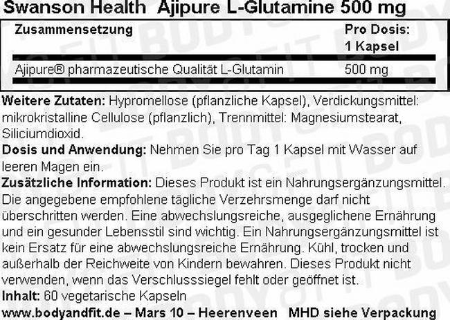 Ultra Ajipure L-Glutamine 500 mg Nutritional Information 1