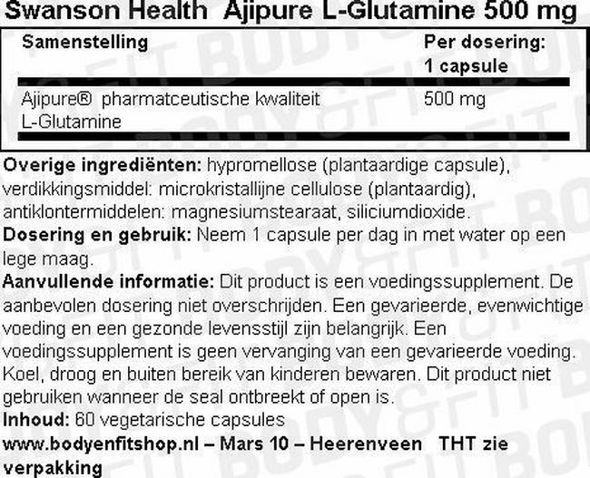 Ultra Ajipure L-Glutamine 500mg Nutritional Information 1
