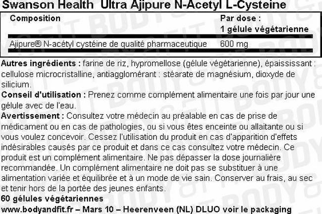 Gélules Ultra Ajipure N-Acetyl-L-Cysteine Nutritional Information 1