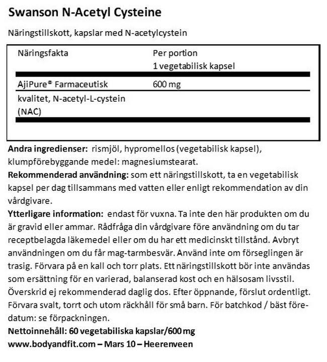 Ultra Ajipure N-Acetyl L-Cysteine Nutritional Information 1
