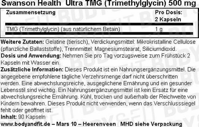 Ultra TMG (Trimethylglycine) 500 mg Nutritional Information 1