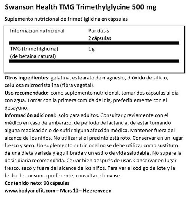 Ultra TMG (Trimethylglycine) 500 mg Nutritional Information 1